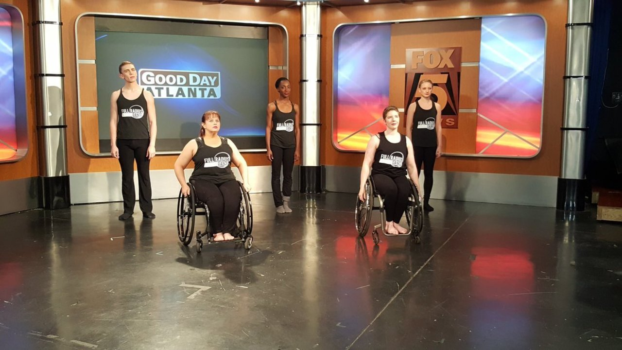Full Radius Dance performers, two in wheel chairs, dance on Fox Fife Atlanta News